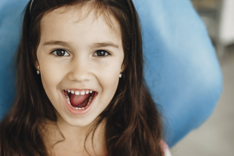 Closeup of girl showing her teeth at dentist's office